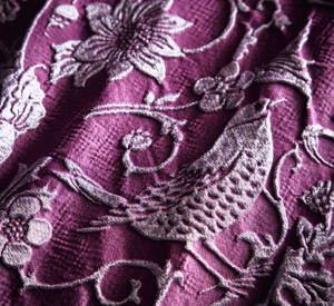 high quality woven relief jacquard in a deep plum colour palette this bedding set