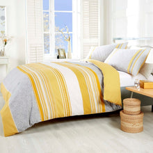 Load image into Gallery viewer, Havana double bedding. Bands of light grey, yellow and white