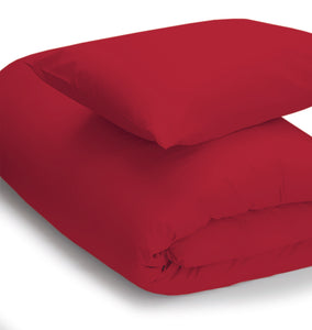 Red coloured bedding