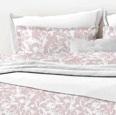 Rosie by Belledorm double duvet set An all over shadow print of leaves, flowers and butterflies printed in soft tones of White & Pink