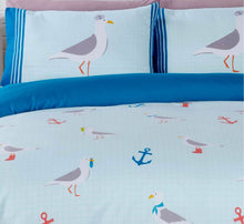 Load image into Gallery viewer, Bring the beach home with our Seagull duvet covers featuring a cute nautical sea gull bird and anchor printed design. This bedding is available in a fresh blue and white colour palette ensuring this bedding will look sensational in any bedroom.