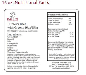 Paul's Custom Pet Food - Hunter's Beef with Greens Complete