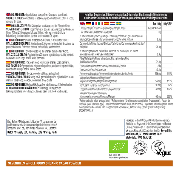 Sevenhills Wholefoods Organic Cacao Powder - Label