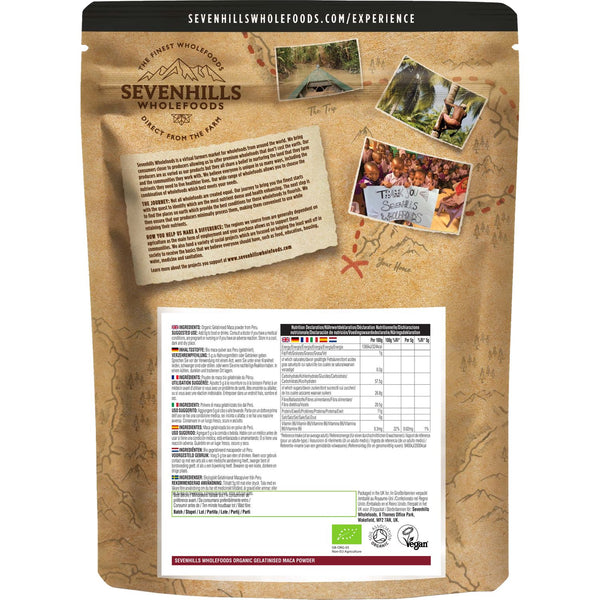 Sevenhills Wholefoods Organic Gelatinised Maca Powder - Back