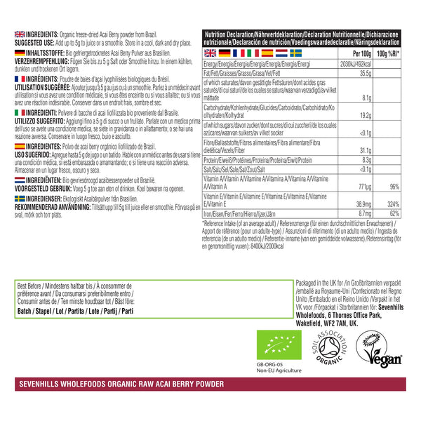 Sevenhills Wholefoods Organic Raw Acai Berry Powder - Label