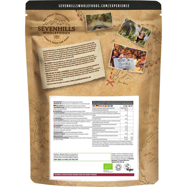 Sevenhills Wholefoods Organic Raw Acai Berry Powder - Back
