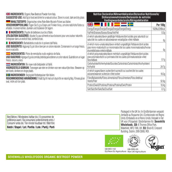 Sevenhills Wholefoods Organic Raw Beetroot Powder - Label