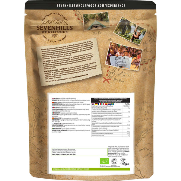Sevenhills Wholefoods Organic Raw Beetroot Powder - Back