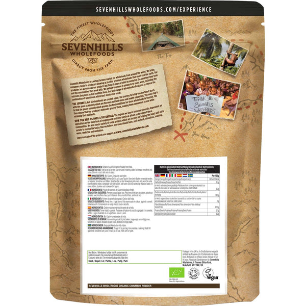 Sevenhills Wholefoods Organic Raw Cinnamon Powder - Back