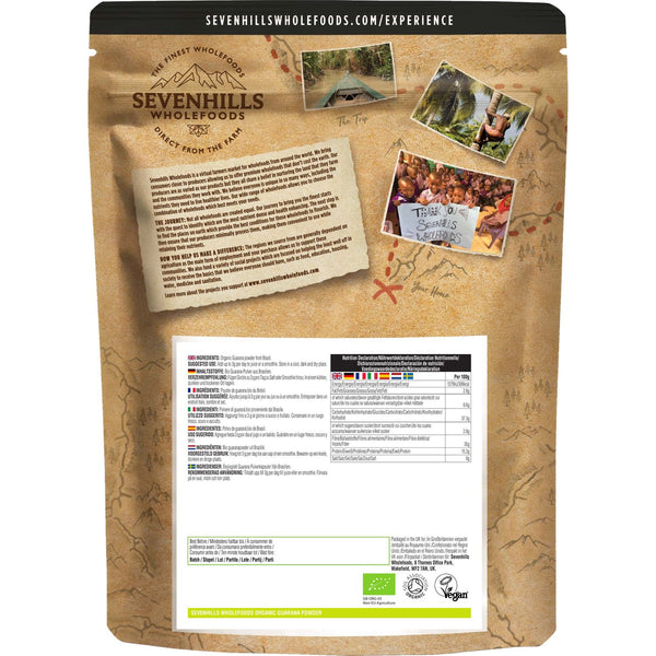 Sevenhills Wholefoods Organic Raw Guarana Powder - Back