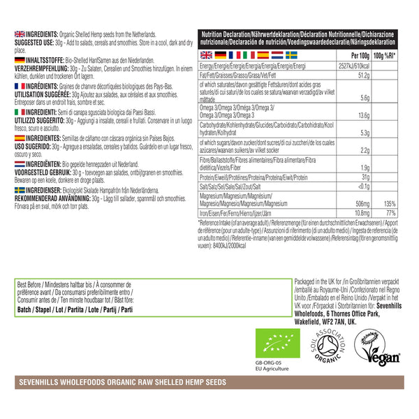 Sevenhills Wholefoods Organic Raw Shelled Hemp Seeds - Label