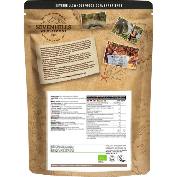 Sevenhills Wholefoods Organic Raw Shelled Hemp Seeds - Back