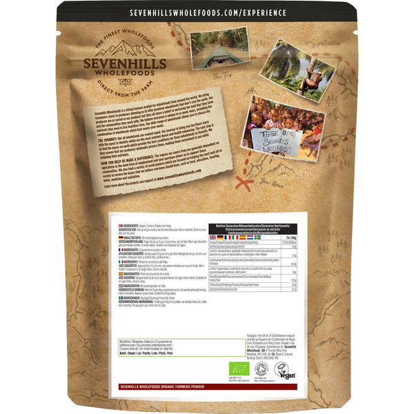 Sevenhills Wholefoods Organic Turmeric Powder - Back