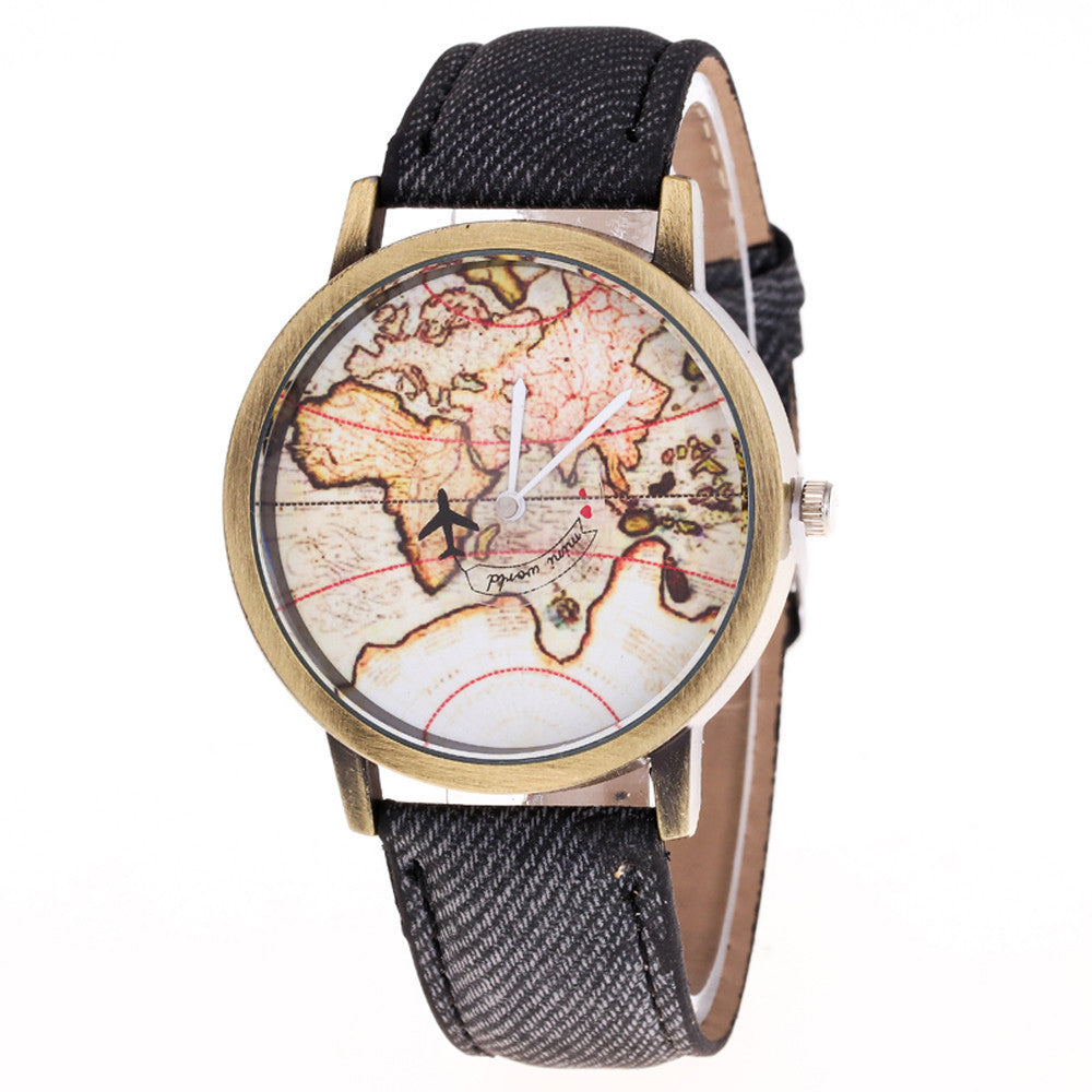 Fashion Women's World Map Cowboy Band Analog Quartz Wrist Watch