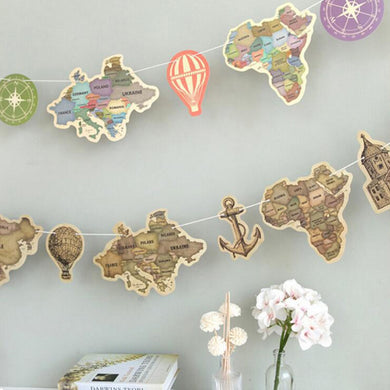 9 pcs/set ancient world map paper Flag hang Pennants celebration Party Banner Shop photography Decorations flags family decorate