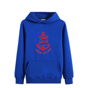 Fashion 2017 New Autumn Winter Men Hoodies Comfortable Hooded Sweatshirt Men Hoody Casual Boat Anchor Print Pullover Hoodies
