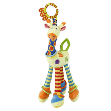 Cotton Plush Infant Baby Development Soft Giraffe Animal Handbells Rattles Handle Toys Tooth Gum Bed Bell Toy For Baby