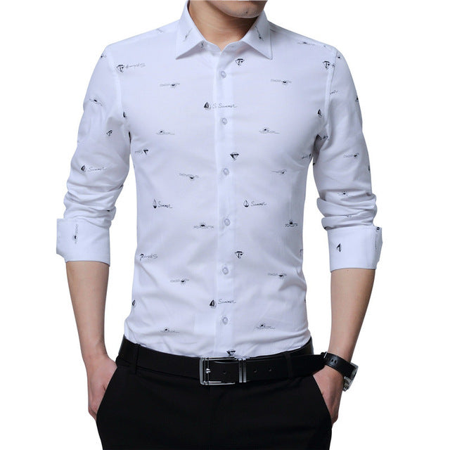 b46241a0 ... TFETTERS Hot New Arrival 100% Cotton Men Print Shirt Long Sleeve Boat  Print Formal Designer