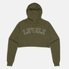 Varsity Women's Cropped Military Green Hoodie