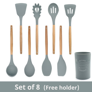 Natural Wooden Silicone Cooking  Utensils (11 Pack)