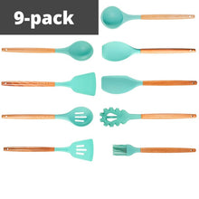 Load image into Gallery viewer, Natural Wooden Silicone Cooking  Utensils (11 Pack)