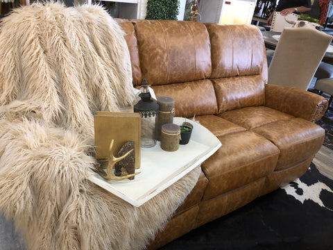 Tobacco Reclining Leather Sofa