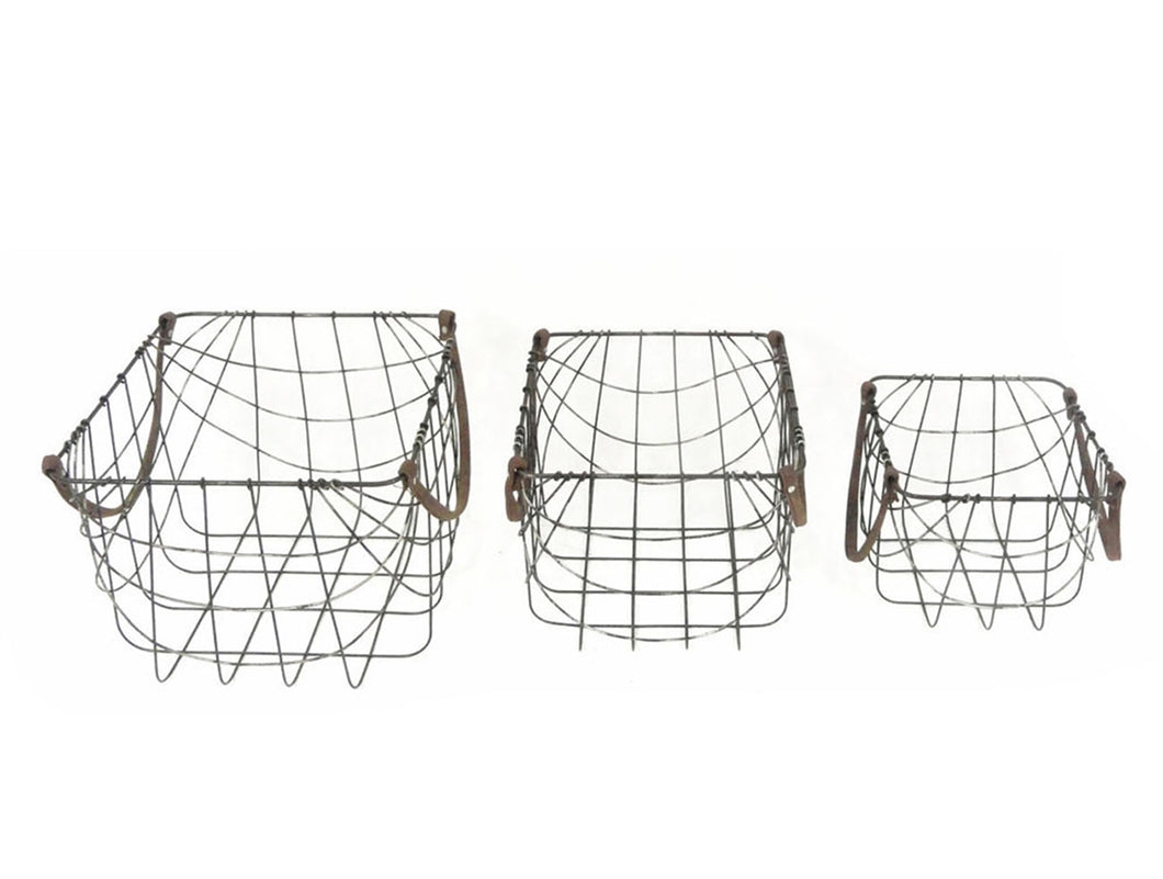 Basket Metal with Leather Handle set of 3