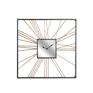 Clock Metal Gold Mirror