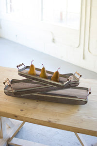Tray Rustic Galvanized with Wood Handles set of 3