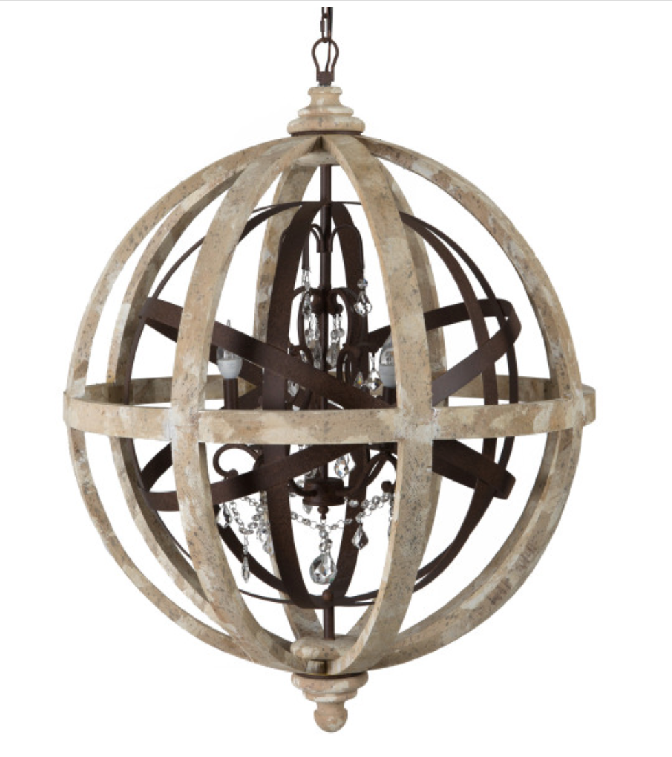 Chandelier Wood And Iron Globe