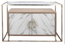 Console Table Cream Marble And Gold Metal
