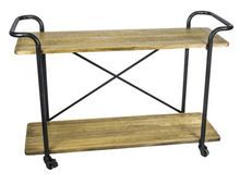 Bar Cart Wood Black Metal