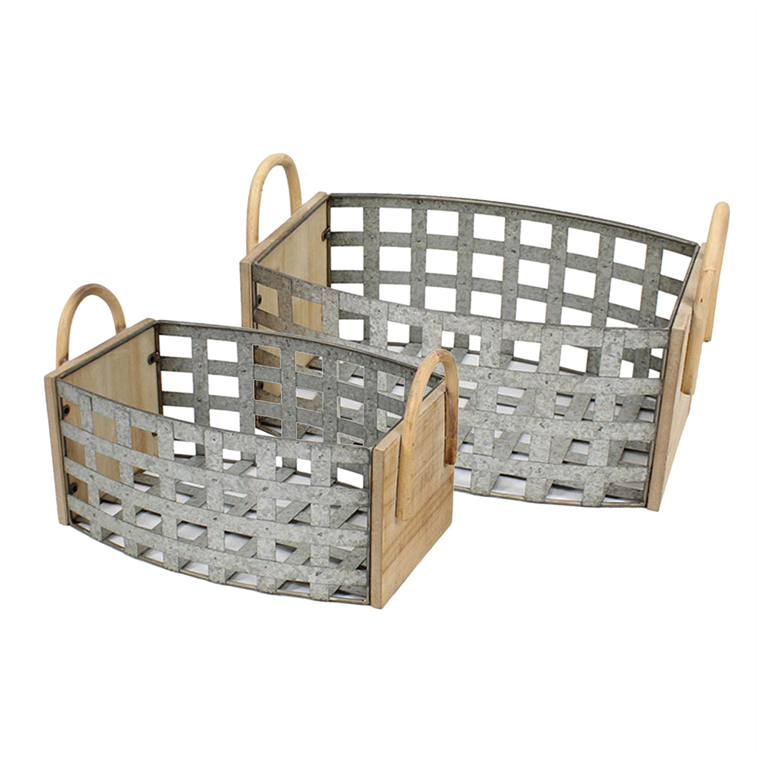 Basket Metal Wood set of 2