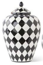 Canister Jar With Lid Black White Harlequin Large 12""