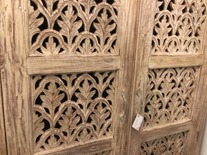 Armoire 2 Door Cabinet Carved Solid Wood