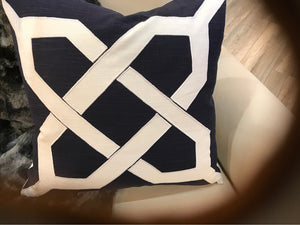 Pillow Navy White