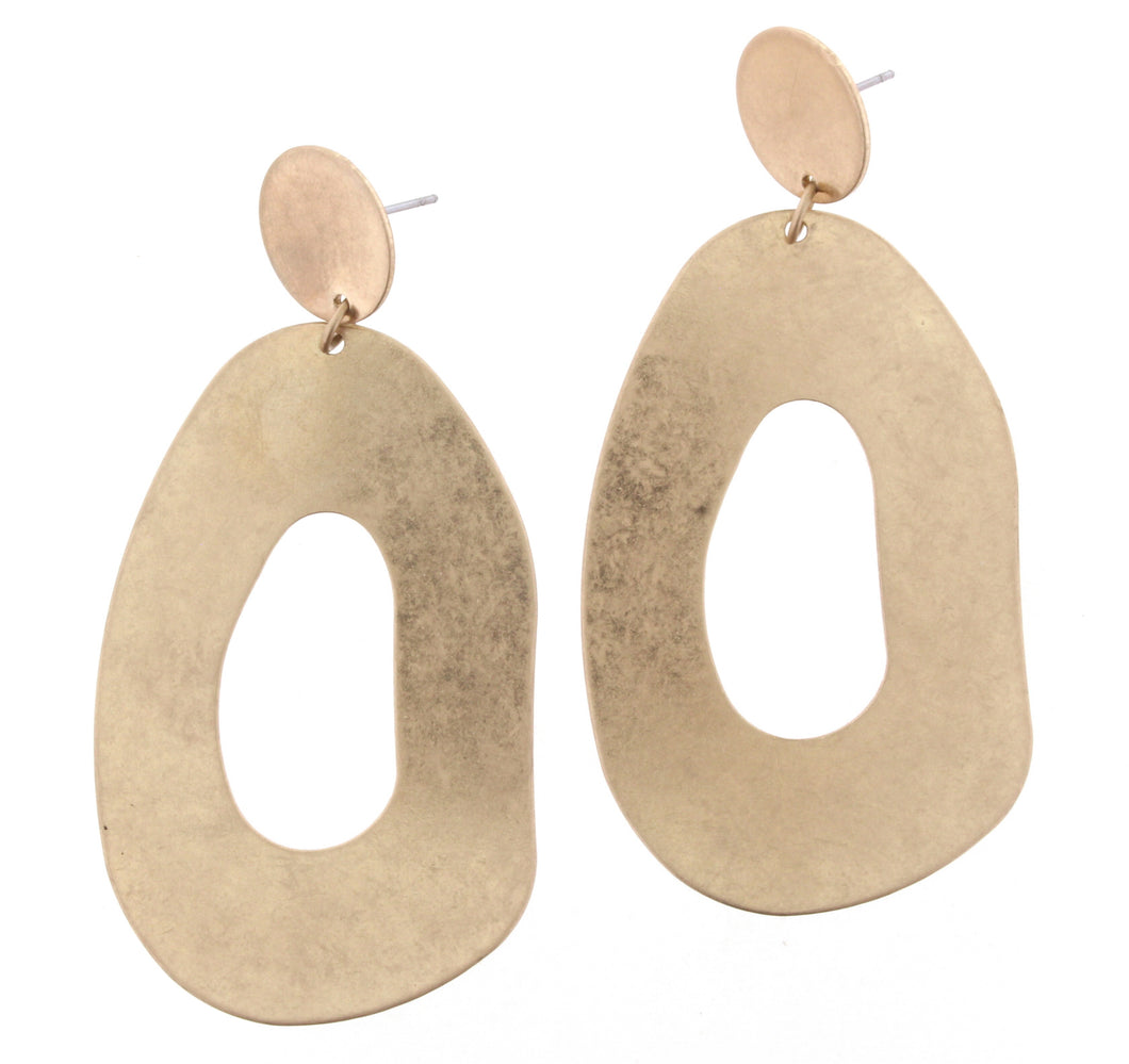 Earrings Large Gold Circle With Gold Irregular Dangle JM
