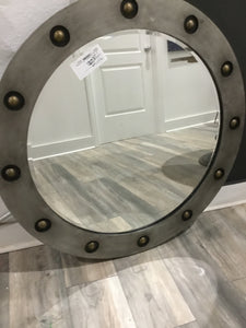 MIRROR Round Gunmetal With Gold Studs