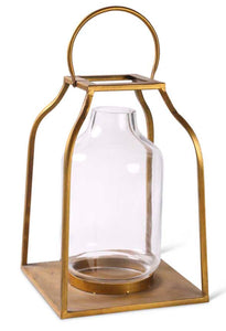 Lantern Gold With Glass Small 18""