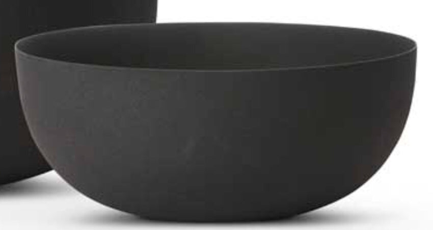 Bowl Black Matte Metal Medium 12""