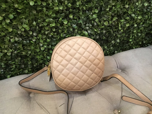 Crossbody Circle Khaki Quilted
