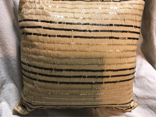 Pillow Gold With Sequin Stripes