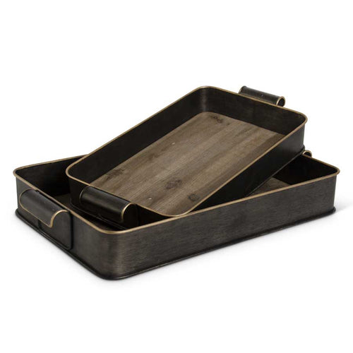 Tray Dark Wood & Brushed Metal Large KK