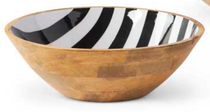Bowl Black White Wood Small
