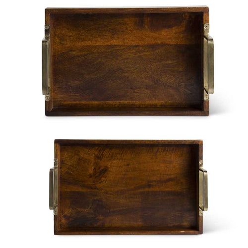 Brown Wood Trays with Gold Handles Small KK