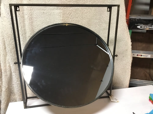 Mirror Round In Square Frame Metal