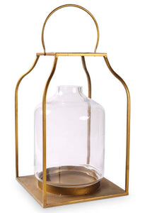 Lantern Gold Finish With Glass Large 27""