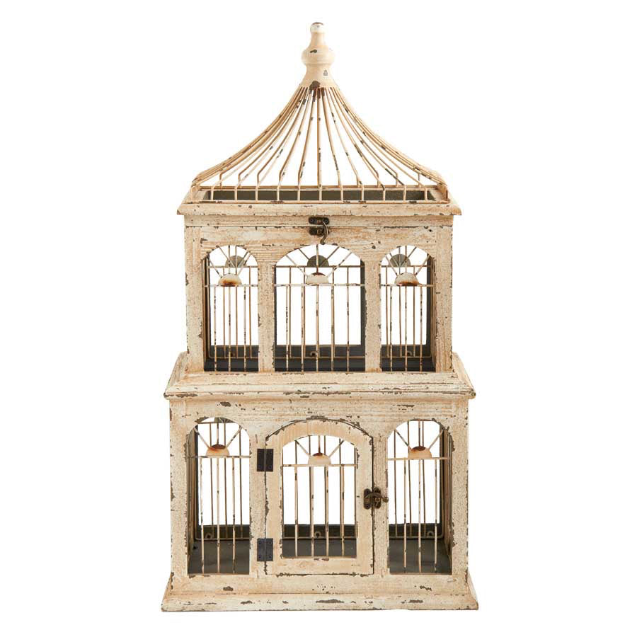 "Birdcage Cream Wood Rectangular 2 Story 30"" KK"
