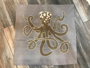 Pillow Tan Gray Octopus
