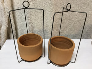 Planter Hanging Metal With Clay Pot